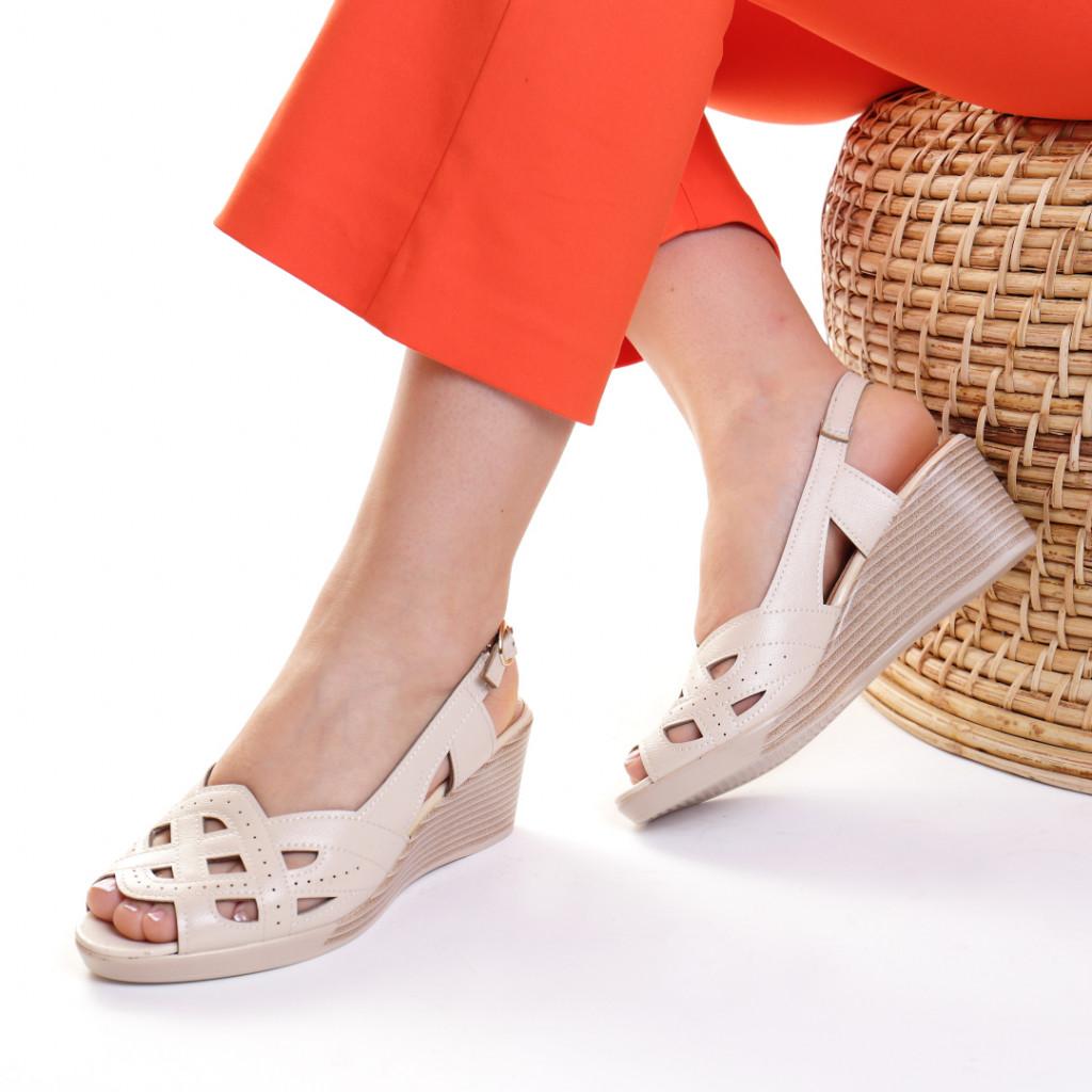 Sandale piele ecologica crem Esperanza