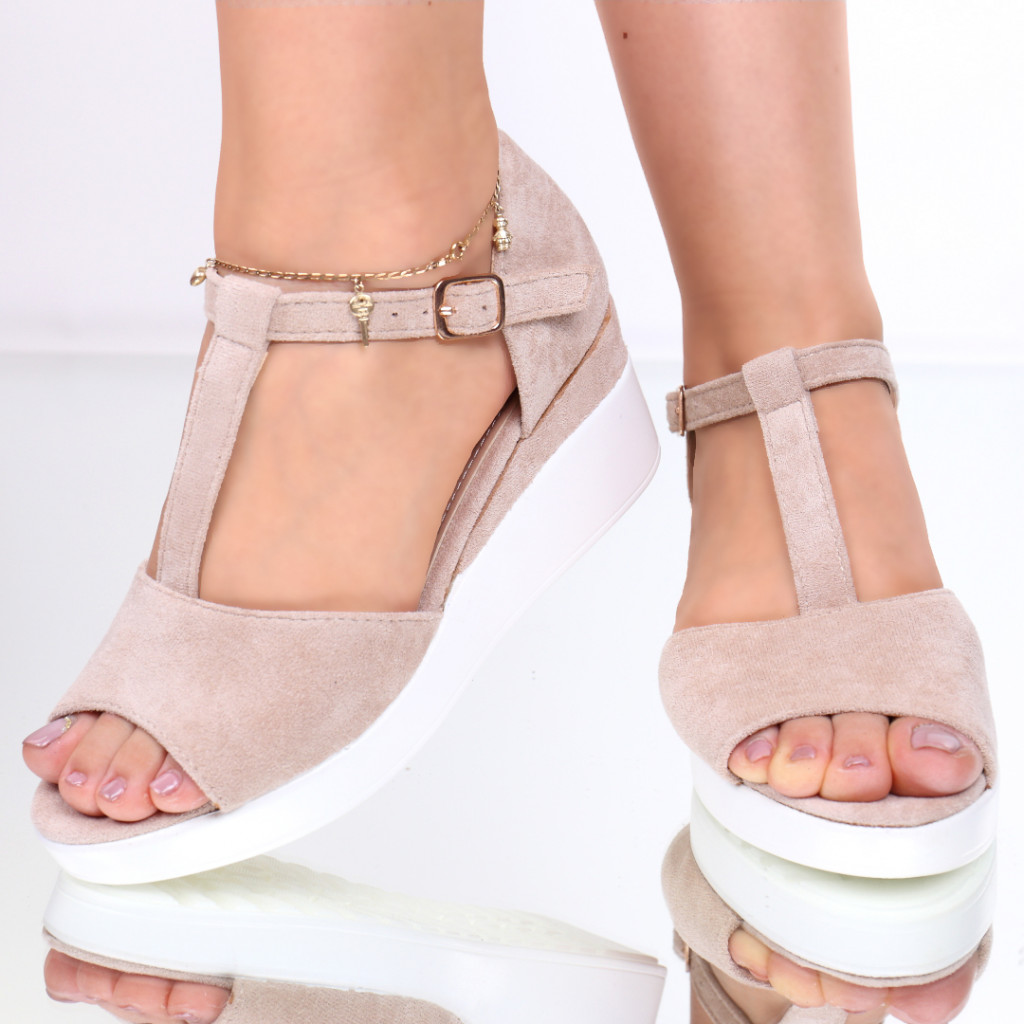 Sandale piele ecologica intoarsa nude Gheisa