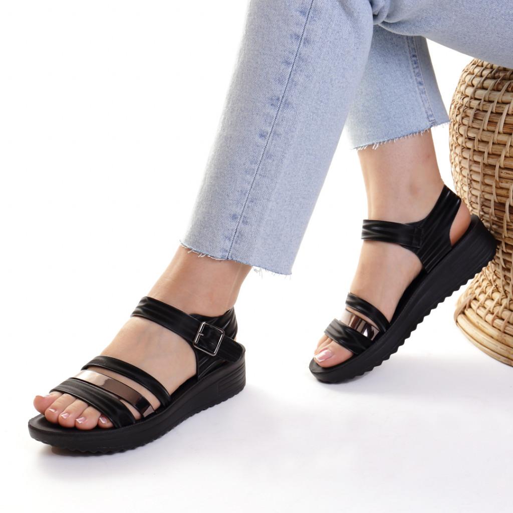 Sandale piele ecologica negre Charisma