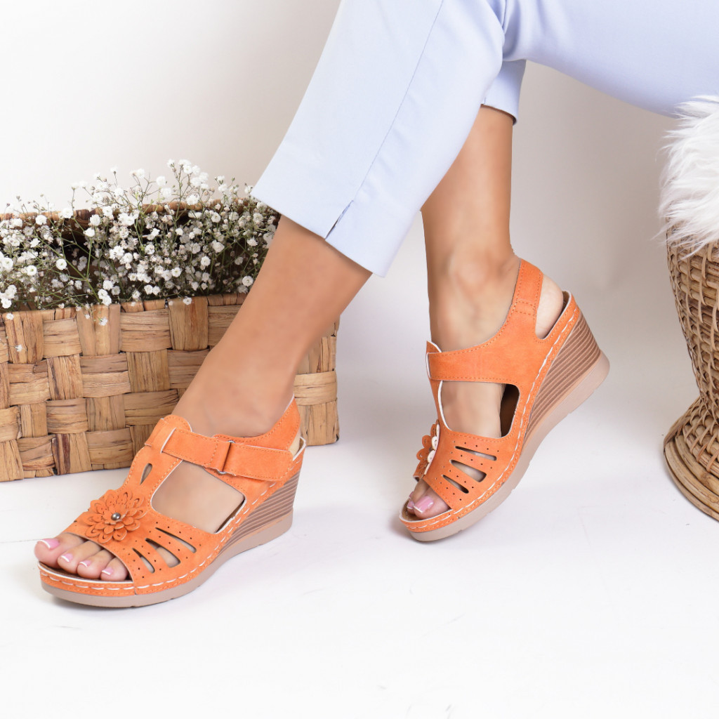 Sandale piele ecologica portocalii Flora