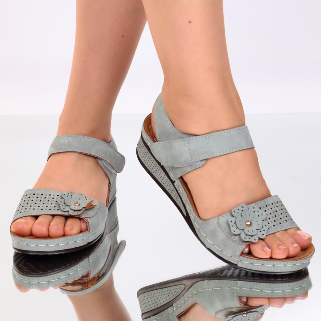 Sandale verzi piele ecologica Nuna