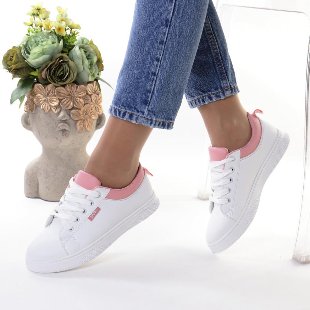 Adidasi alb cu roz piele ecologica Ruzina