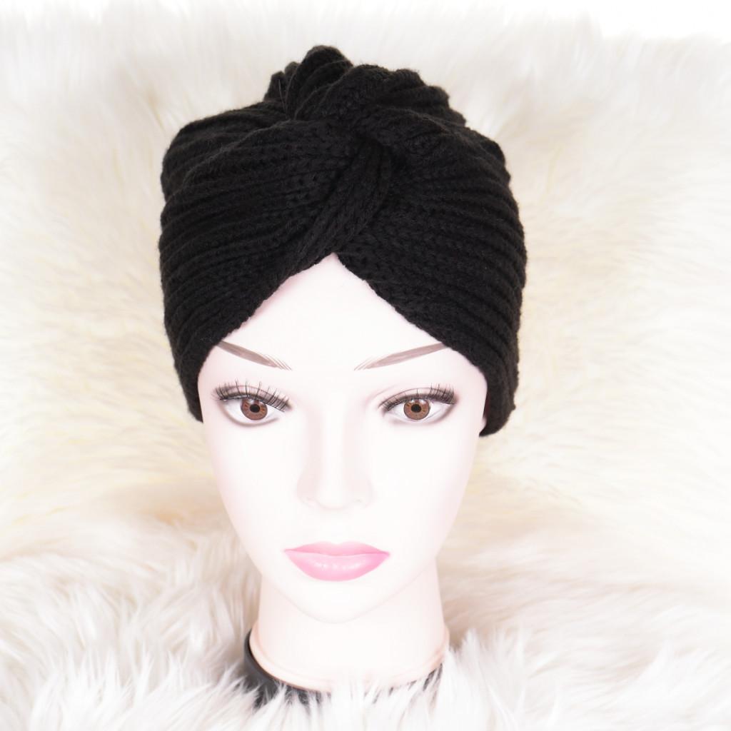 Caciula neagra tricotata stil turban simplu Enli