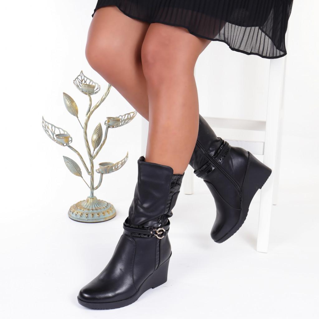 Cizme negre imblanite cu talpa ortopedica Fevronia