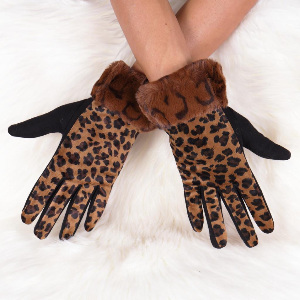 Manusi cu imprimeu leopard maro Galla