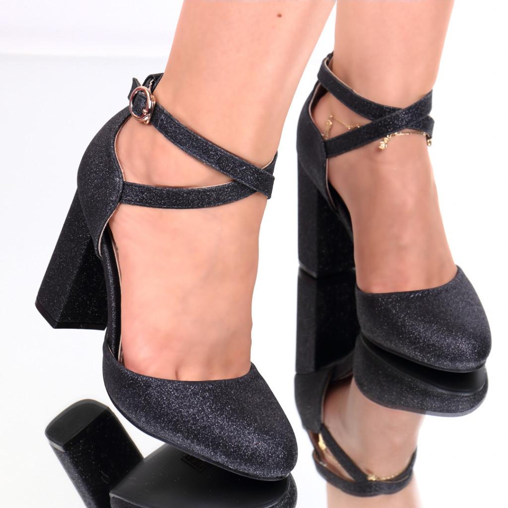 Pantofi cu sclipici negrii Sanziana