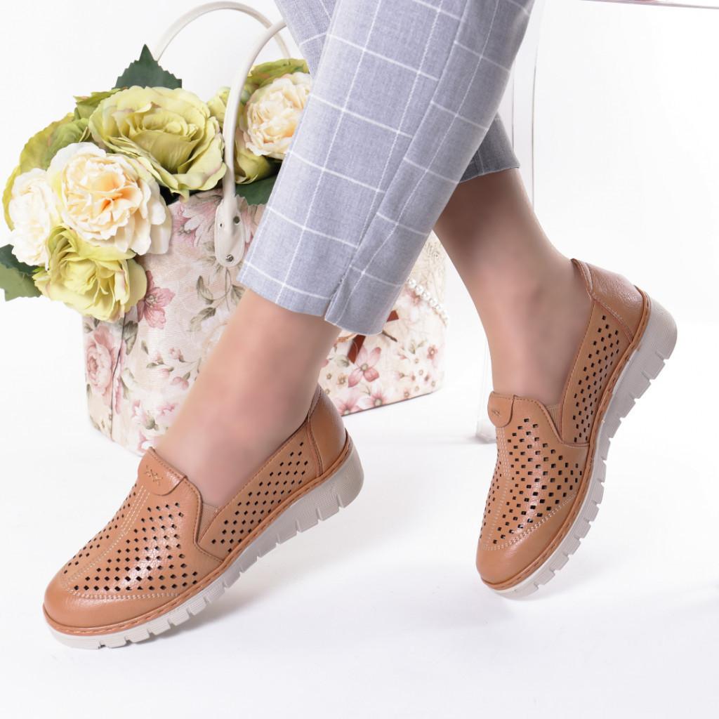 Pantofi maro piele ecologica Handa