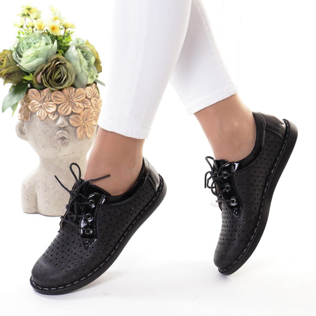 Pantofi negri piele ecologica Bodia