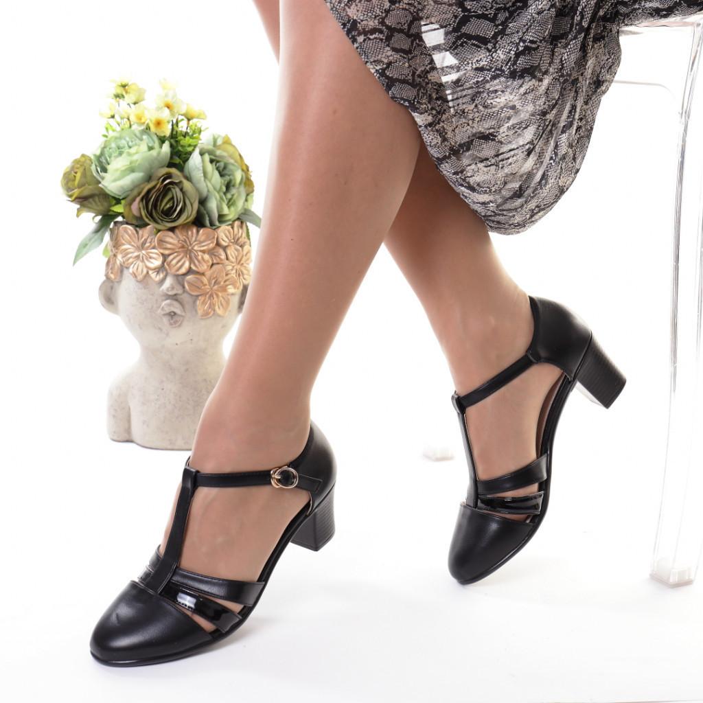 Pantofi negri piele ecologica Manola