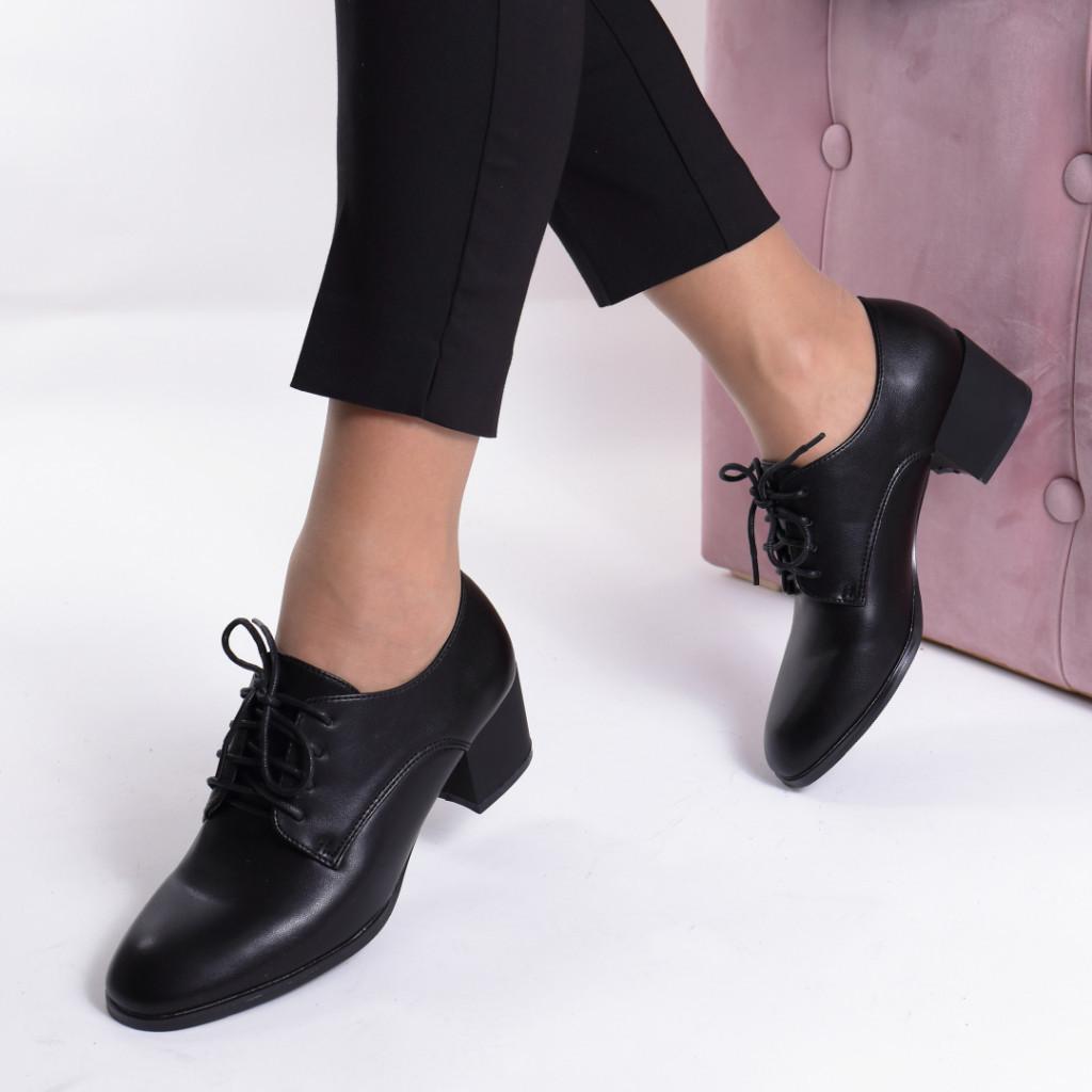 Pantofi negri piele ecologica Migina