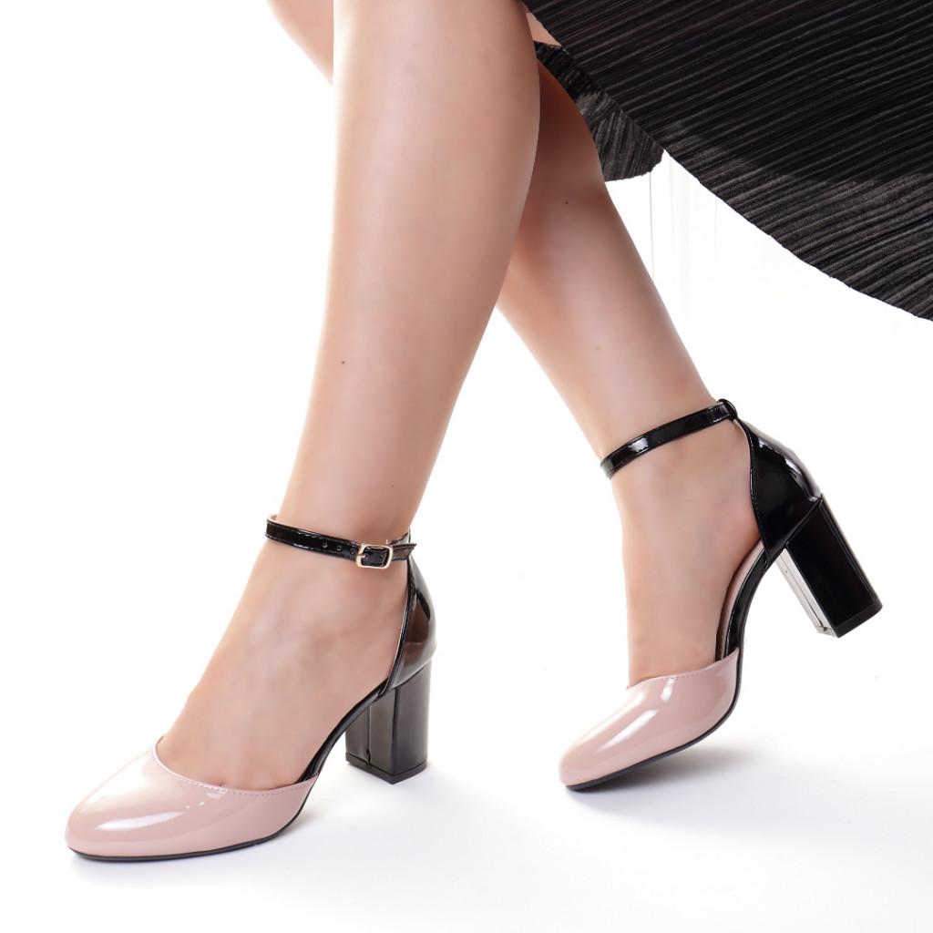 Pantofi piele ecologica bej cu negru Dominika