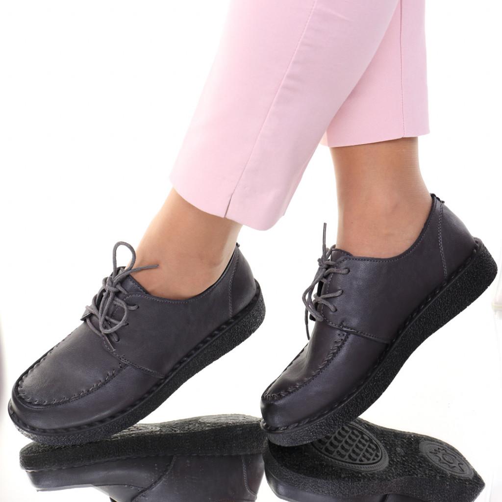 Pantofi piele ecologica gri Eta