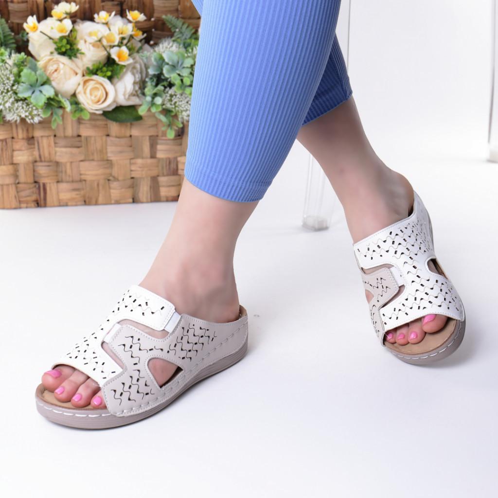 Papuci bej piele ecologica Aviva