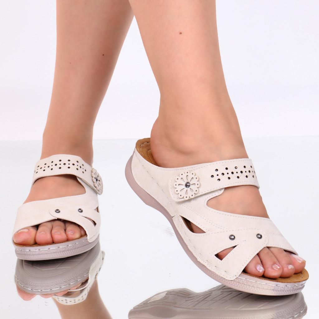 Papuci crem piele ecologica Amita