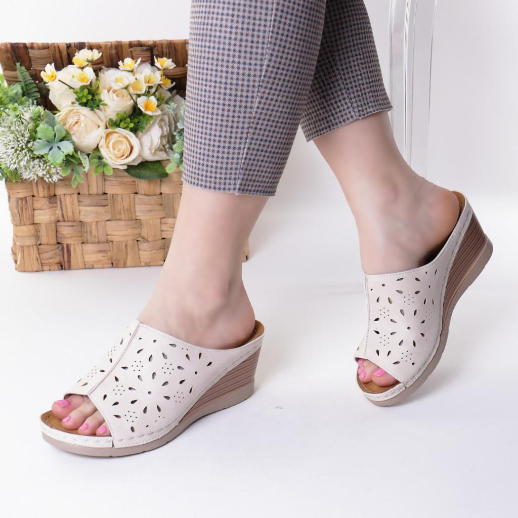 Papuci crem piele ecologica Ilinca