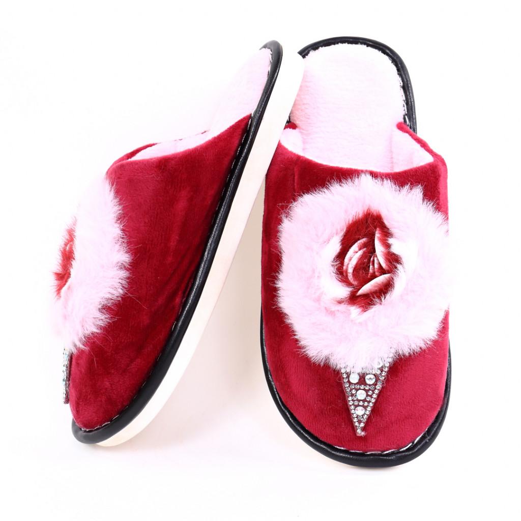 Papuci cu puf bordo Rifa