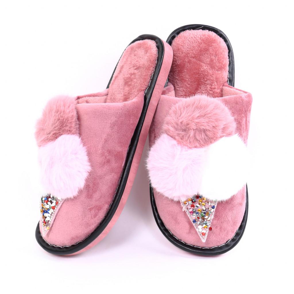 Papuci cu puf roz Parvi