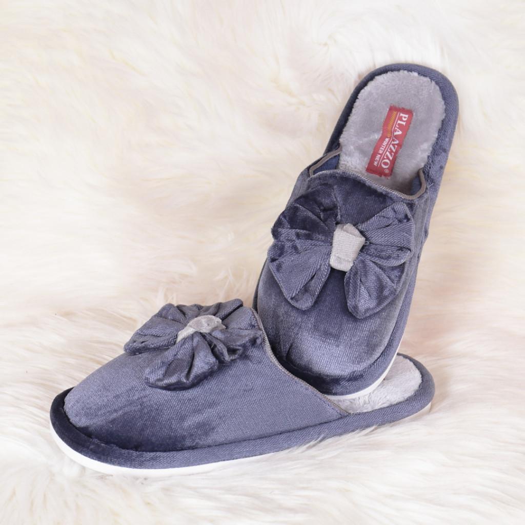 Papuci de casa bleumarin cu funda Emily