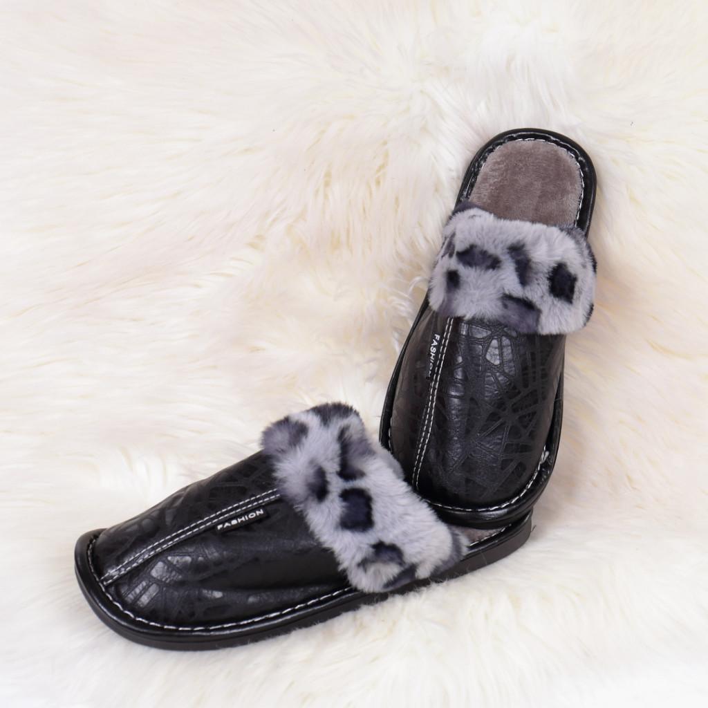 Papuci de casa cu blanita negri Silva