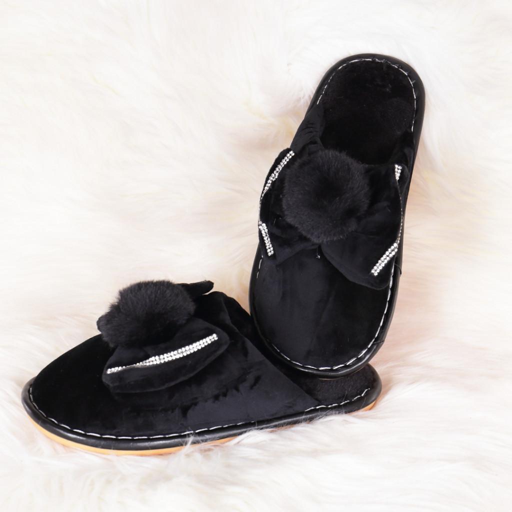 Papuci de casa negri cu funda si puf Lania