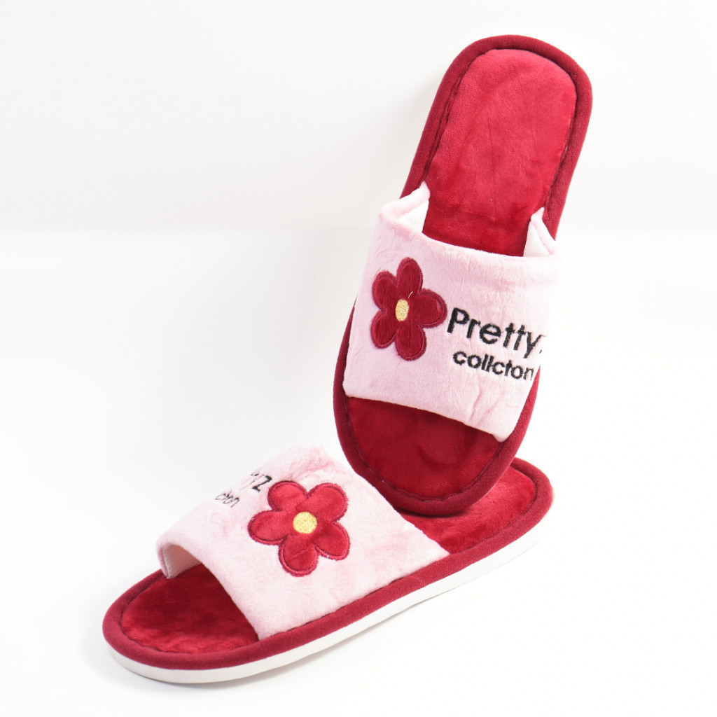 Papuci de casa rosii Pretty