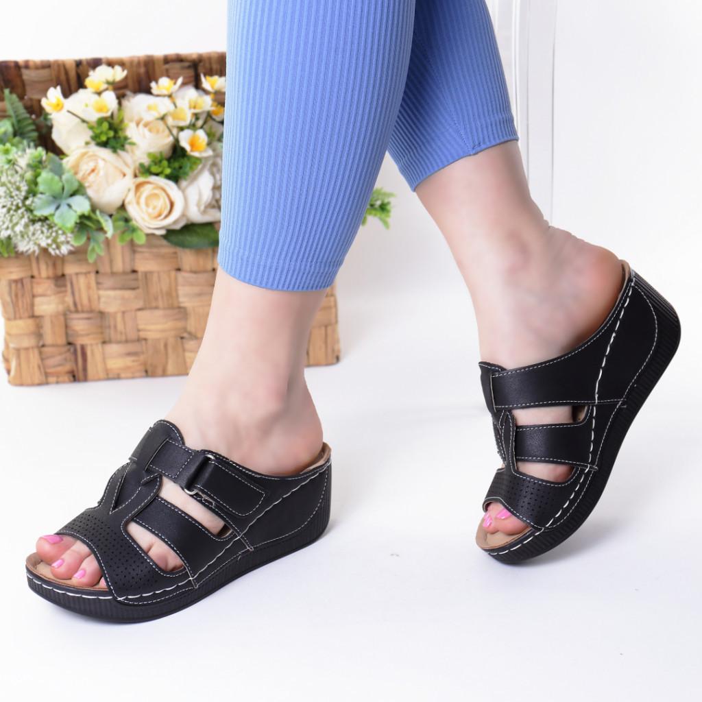 Papuci negri piele ecologica Devira
