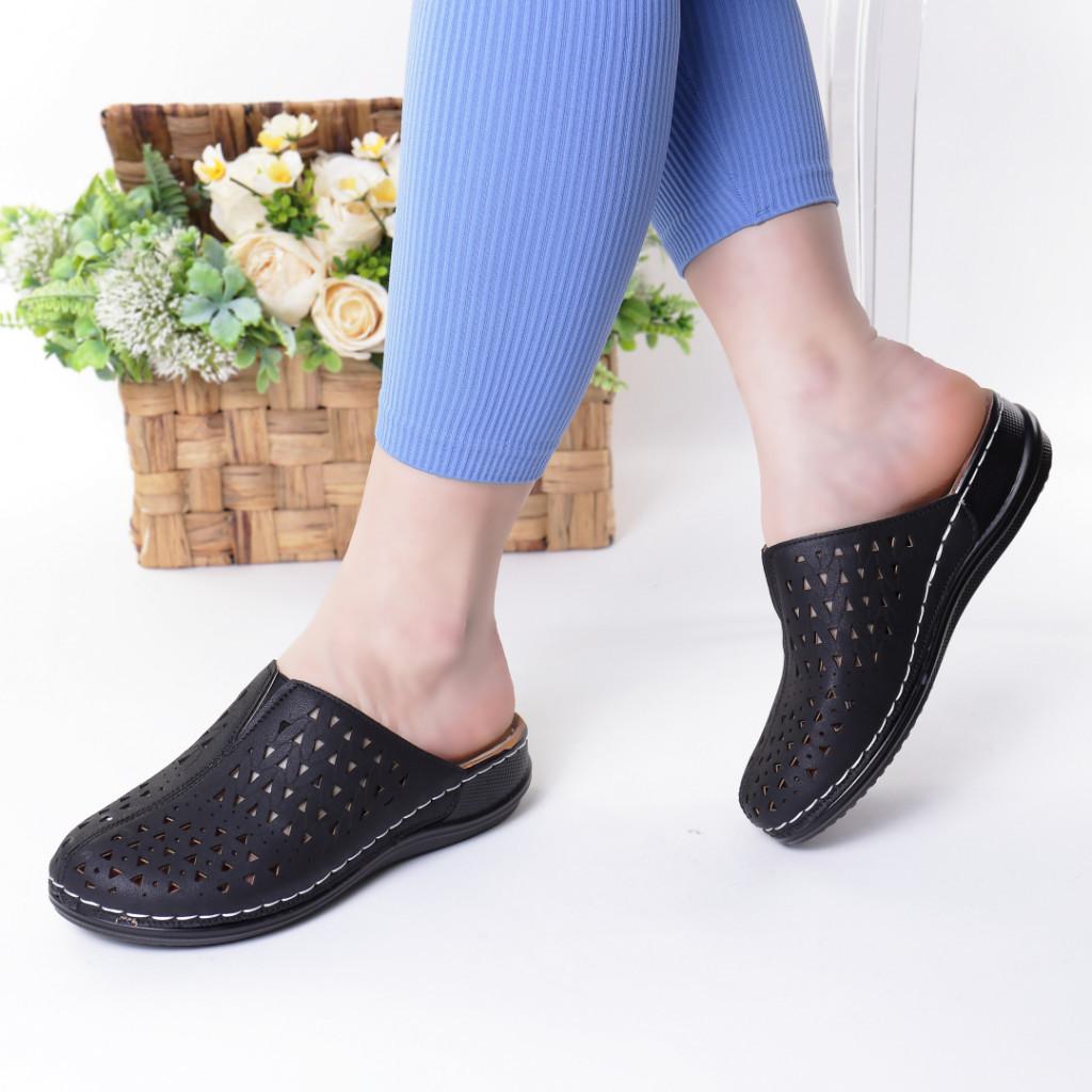 Papuci negri piele ecologica Steluta