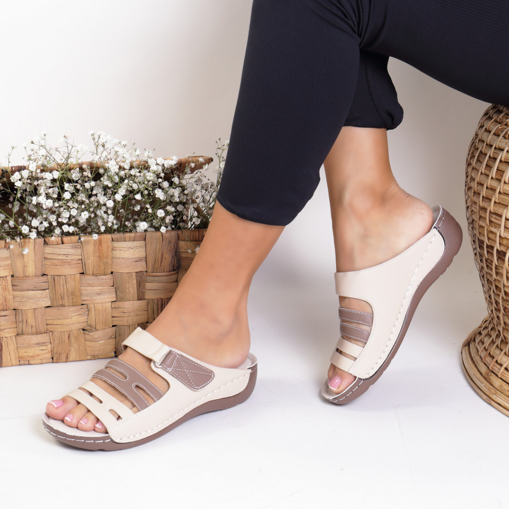 Papuci piele ecologica bej Varvara