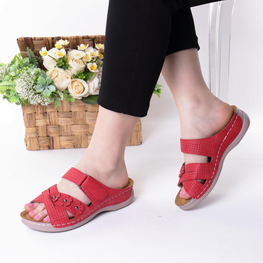 Papuci rosii piele ecologica Gevira
