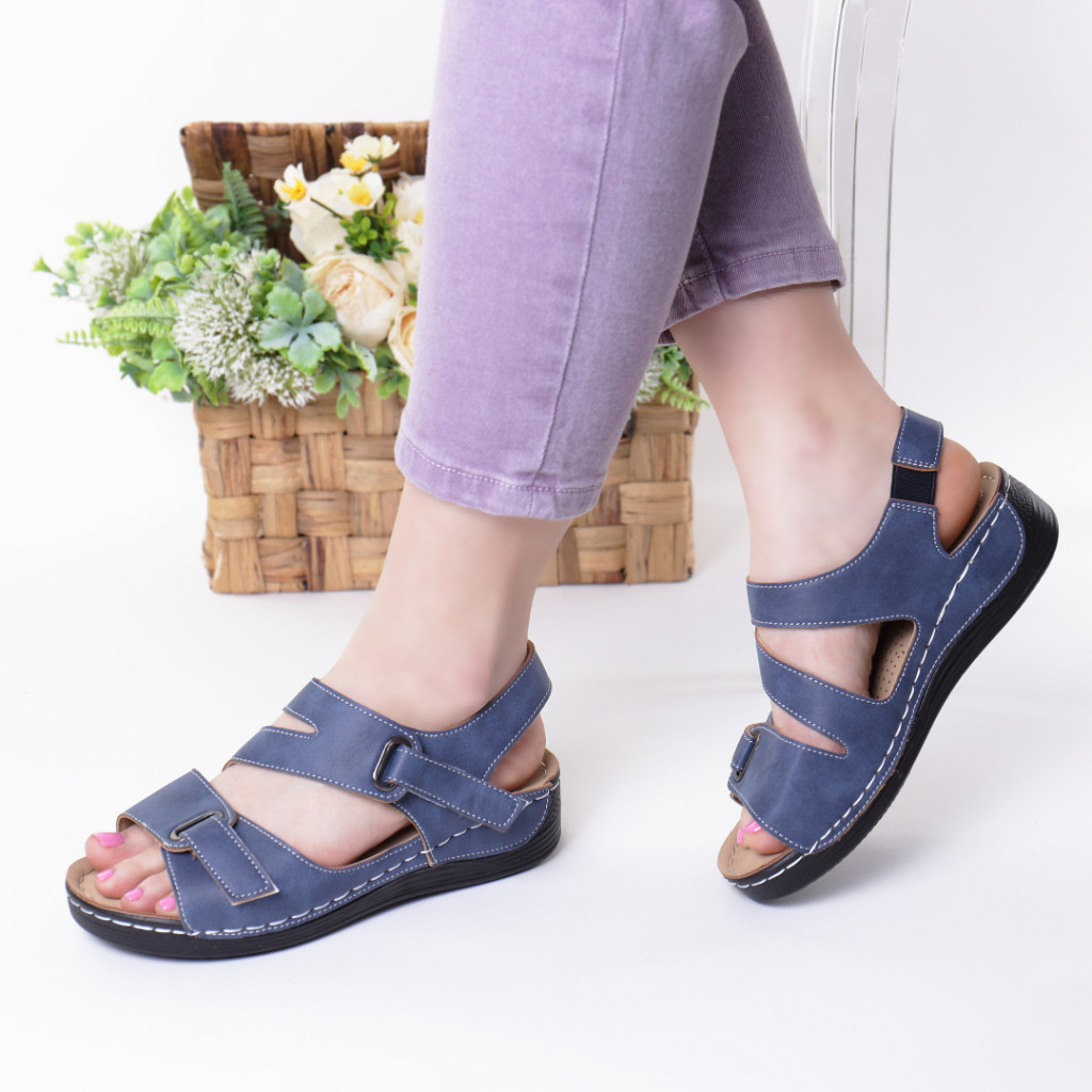 Sandale albastre piele ecologica Abana