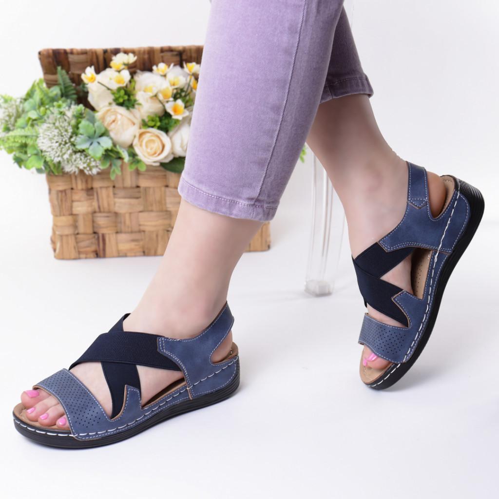 Sandale albastre piele ecologica Aliza