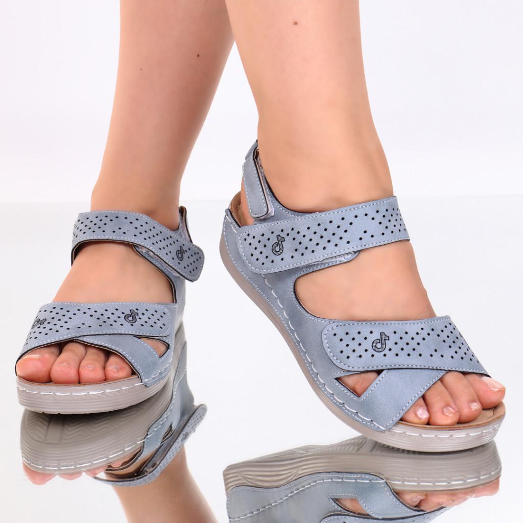 Sandale albastre piele ecologica Toka