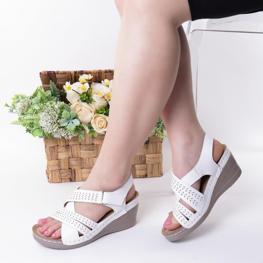 Sandale albe piele ecologica Renana