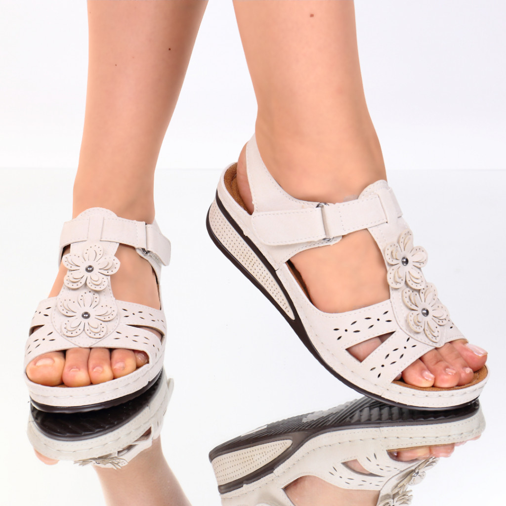 Sandale crem piele ecologica Lala