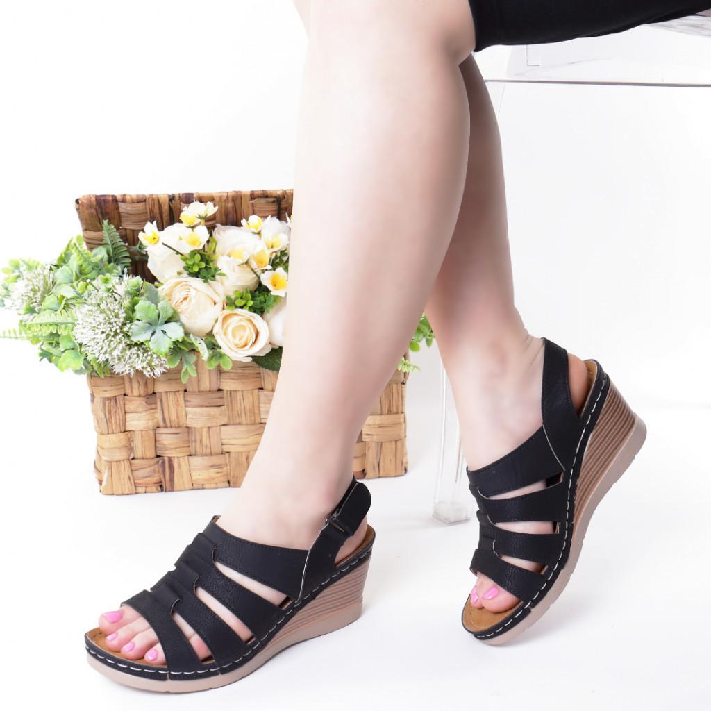 Sandale negre piele ecologica Giorgia