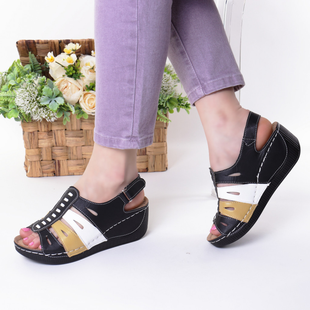 Sandale negre piele ecologica Nili