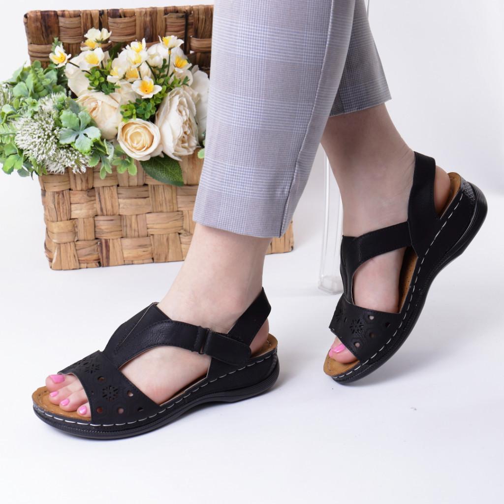 Sandale negre piele ecologica Safira