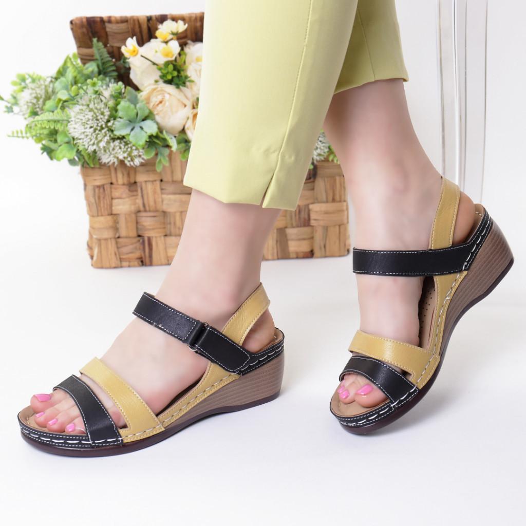 Sandale negru cu galben piele ecologica Adiva