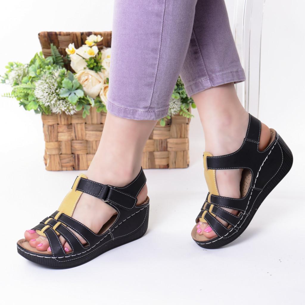 Sandale negru cu galben piele ecologica Teofila