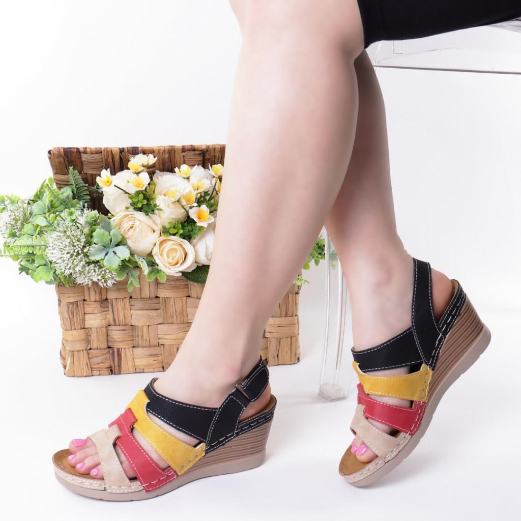 Sandale negru cu rosu piele ecologica Giorgia