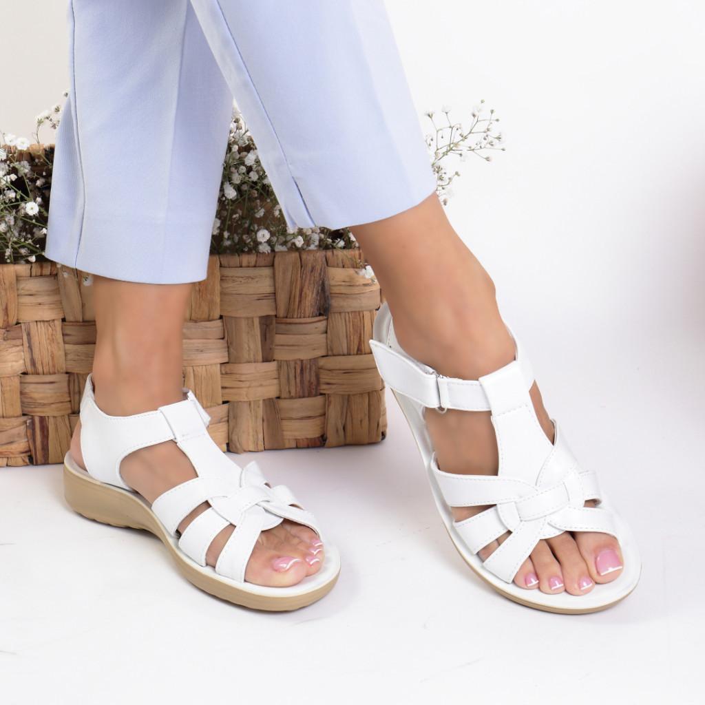 Sandale piele ecologica albe Adriana