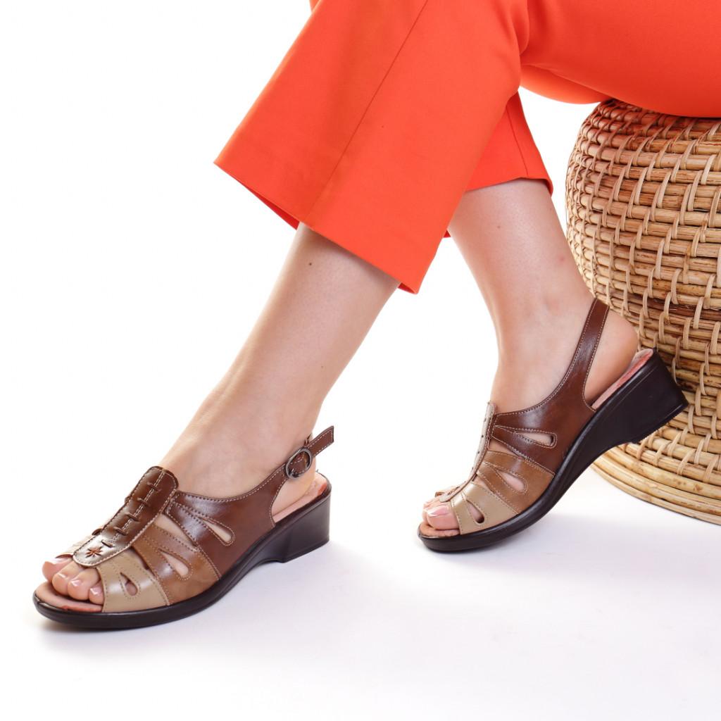 Sandale piele ecologica maro Gala