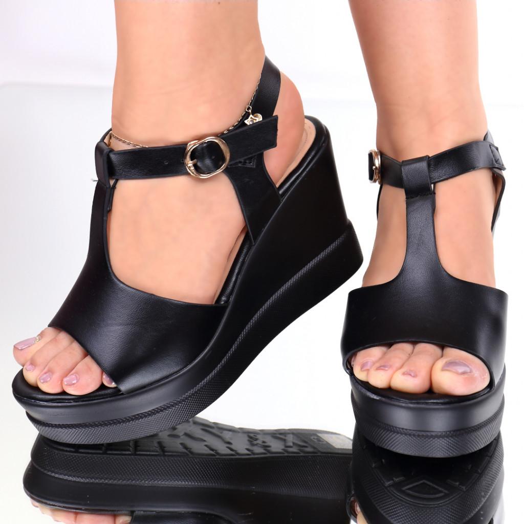 Sandale piele ecologica negre Renea