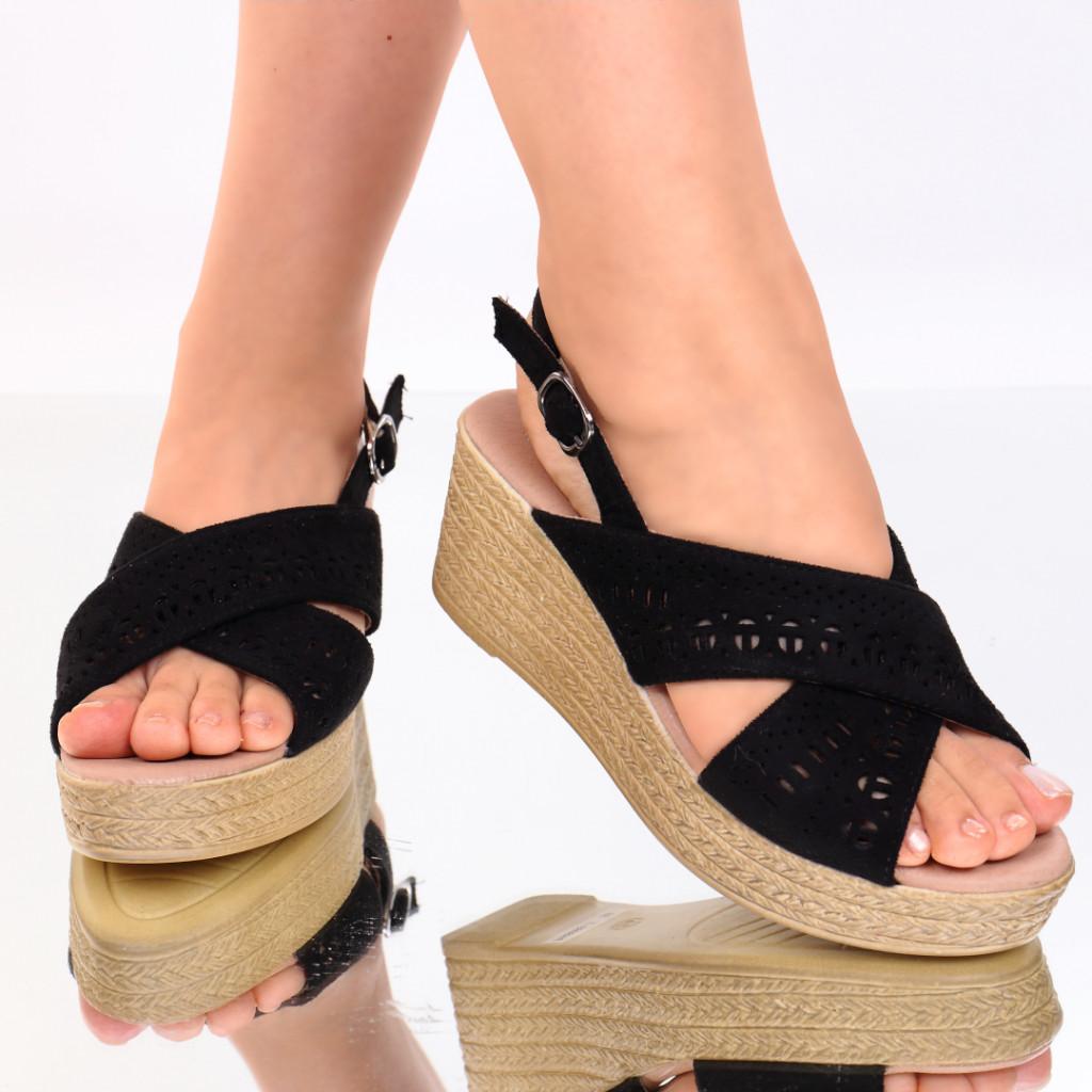 Sandale piele ecologica negre Tamera