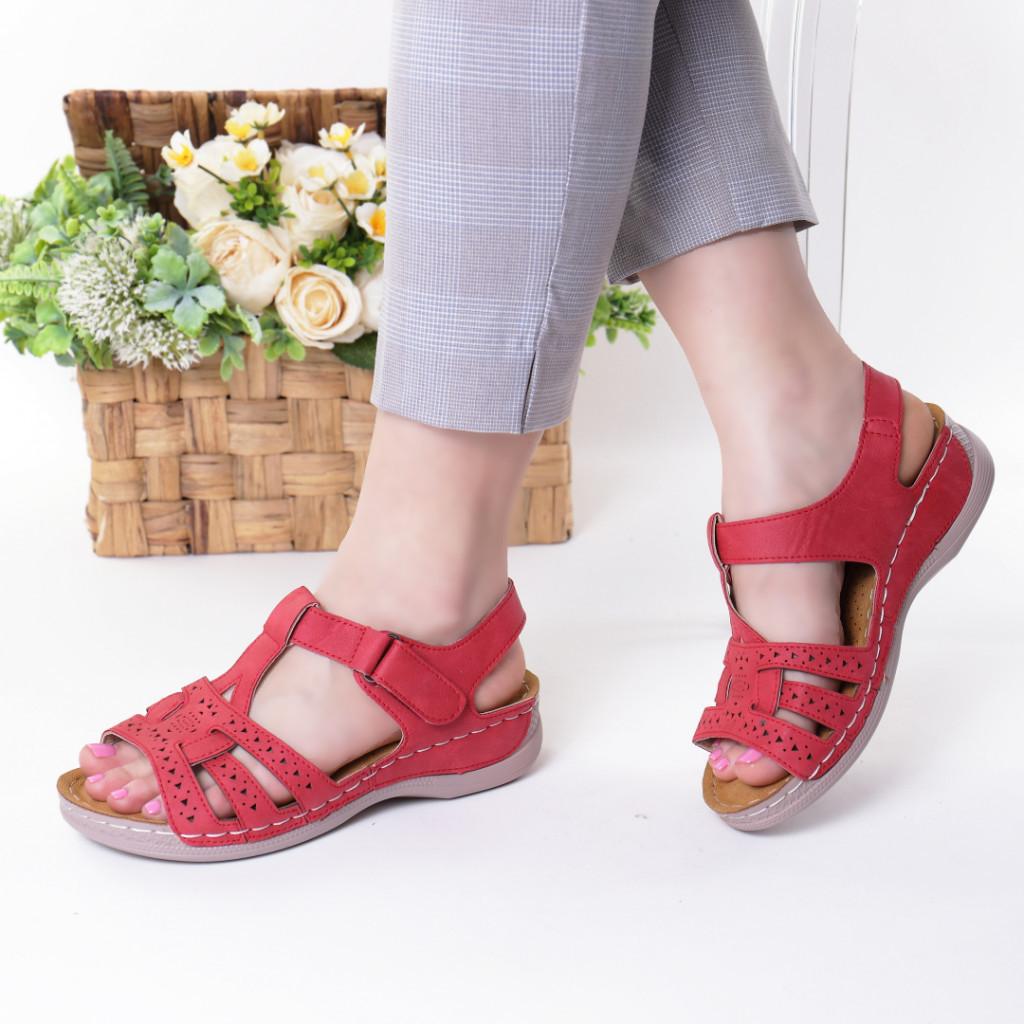 Sandale rosii piele ecologica Ziva