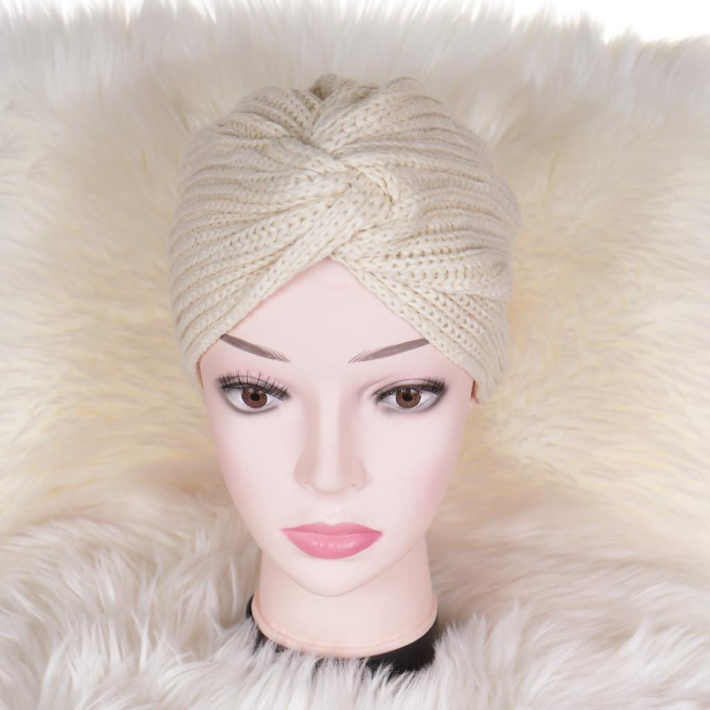 Caciula bej tricotata stil turban simplu Enli