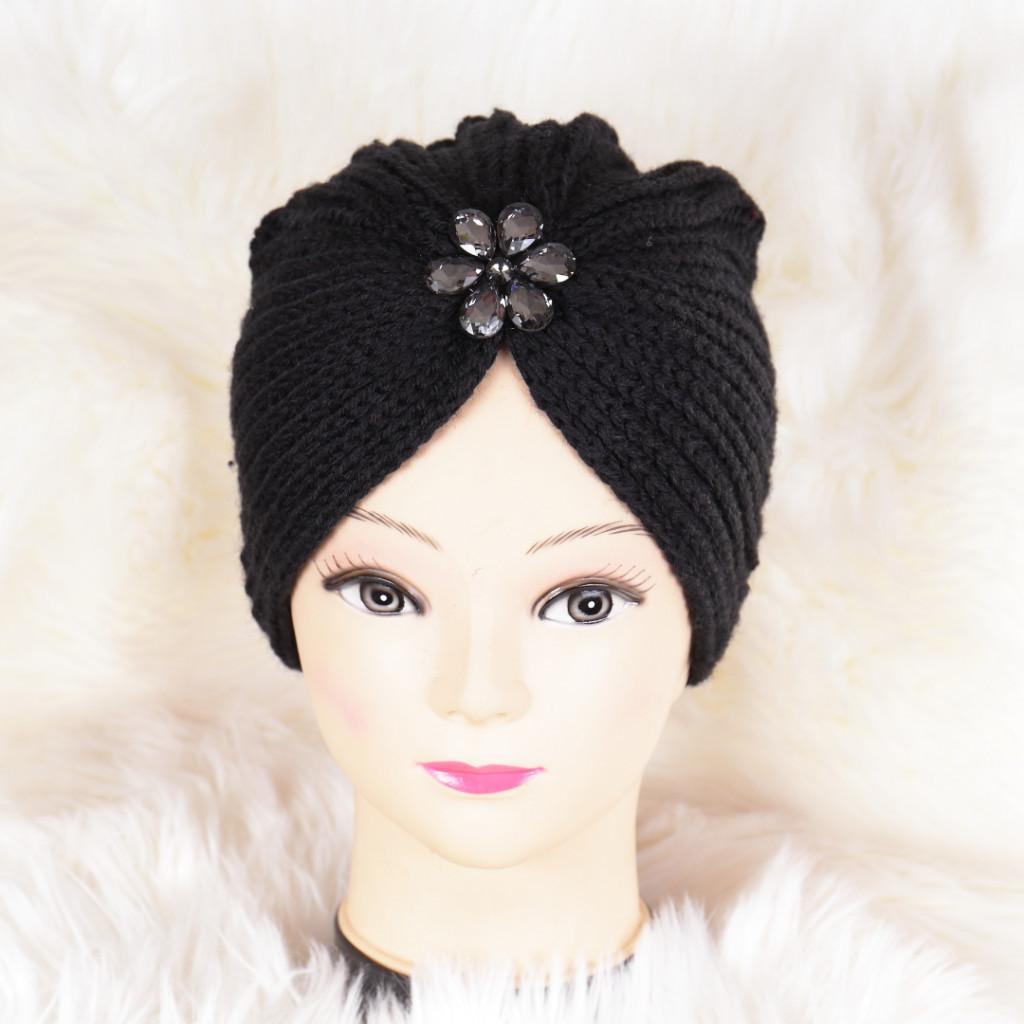 Caciula neagra tricotata stil turban Niki
