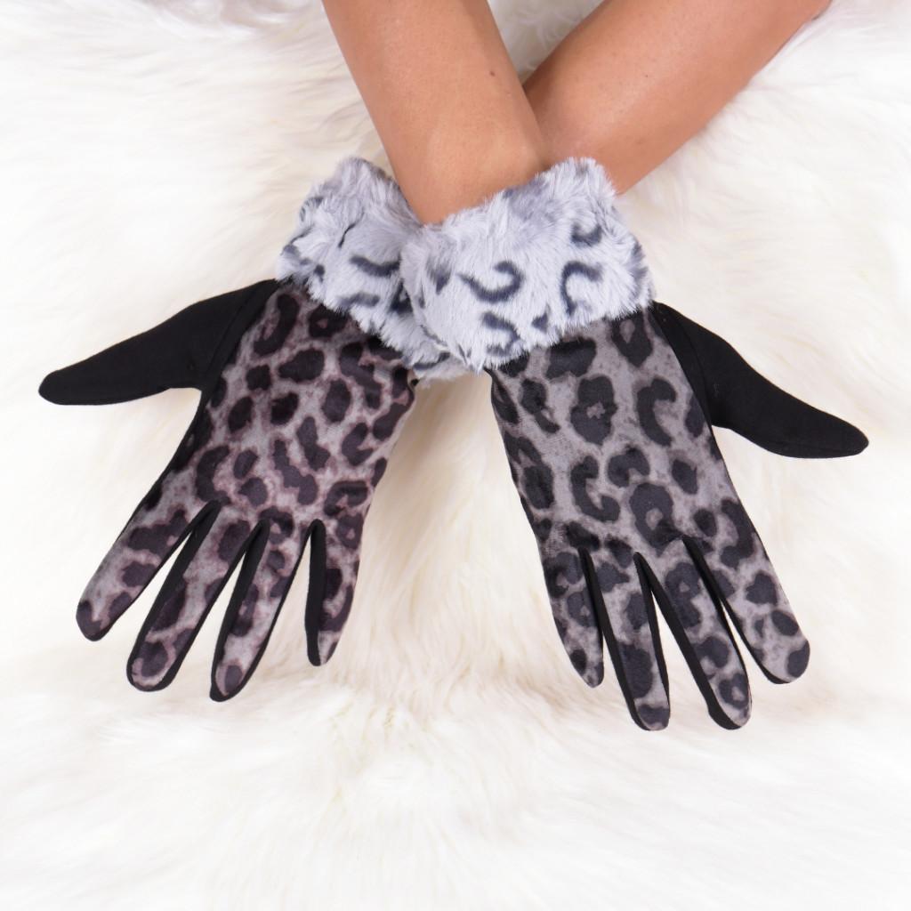 Manusi cu imprimeu leopard negre Galla