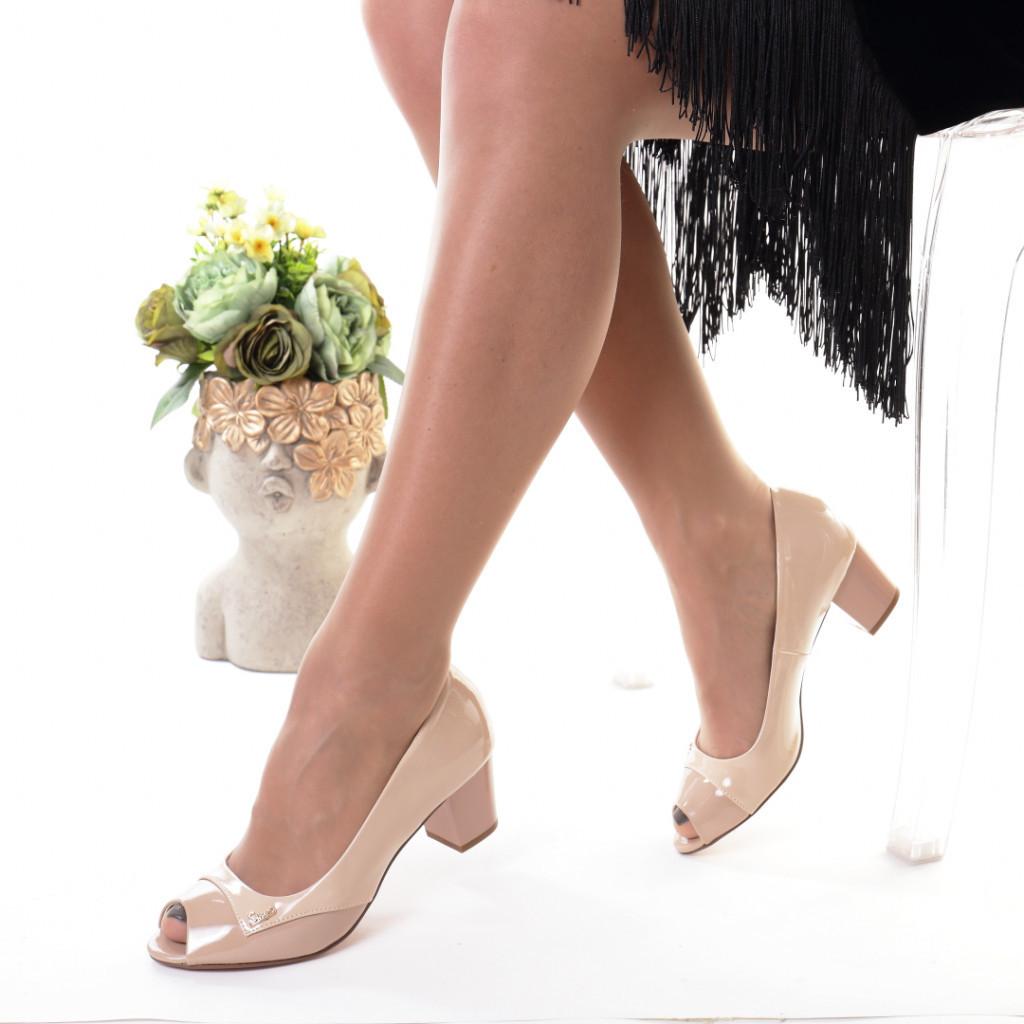 Pantofi bej piele ecologica Amiga