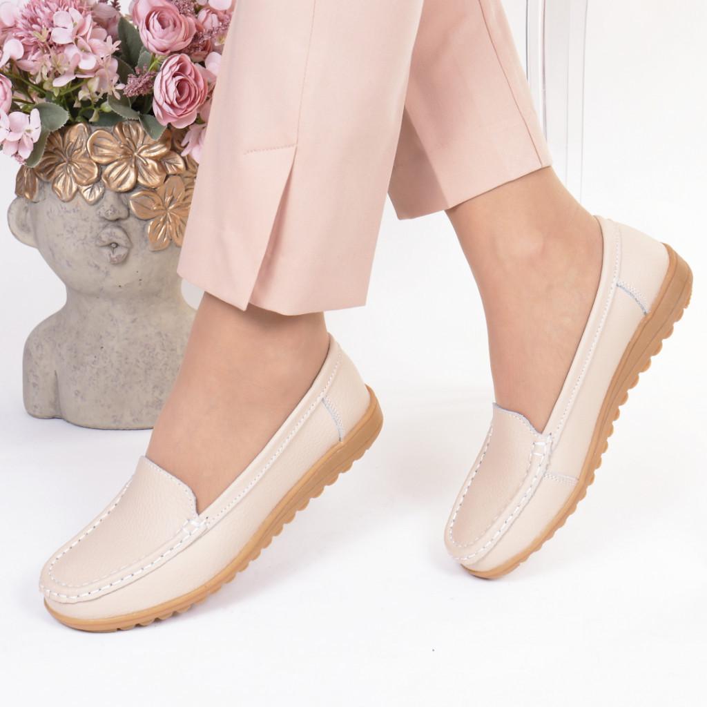 Pantofi bej piele naturala Dariana